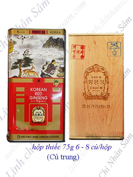 Hồng Sâm Khô Nguyên Củ Punggi 75g  (6-8 củ/hộp)